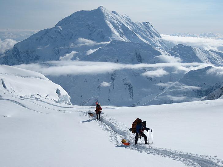 Mt foraker, expedició, Alaska, Denali, muntanya, neu, glacera
