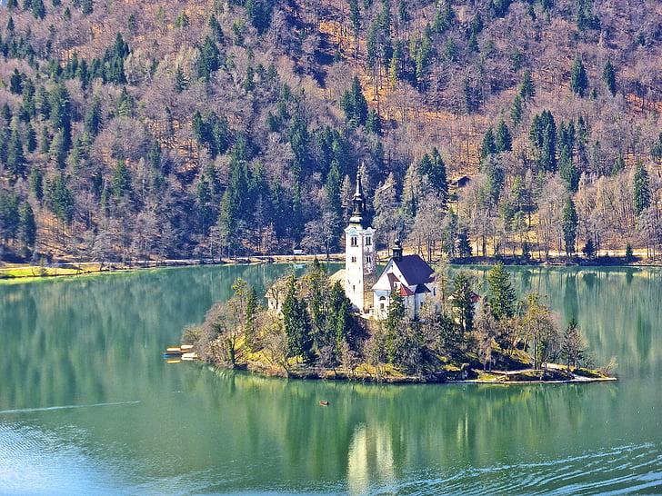 church, island, bled, lake