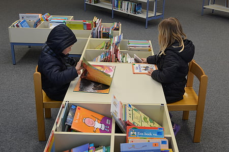 children, boy, girl, people, library, books, read