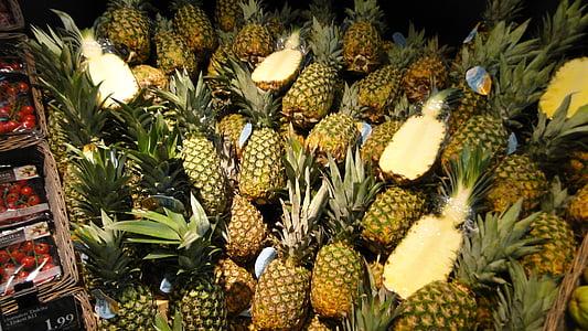 fruit, pineapple, supermarket, food, freshness, tropical Climate, nature