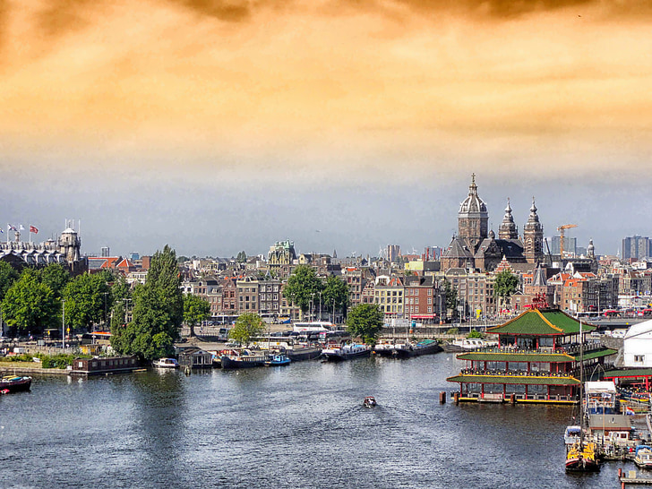 amsterdam, netherlands, buildings, architecture, hdr, trees, river