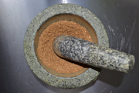 mortar, cinnamon, spices