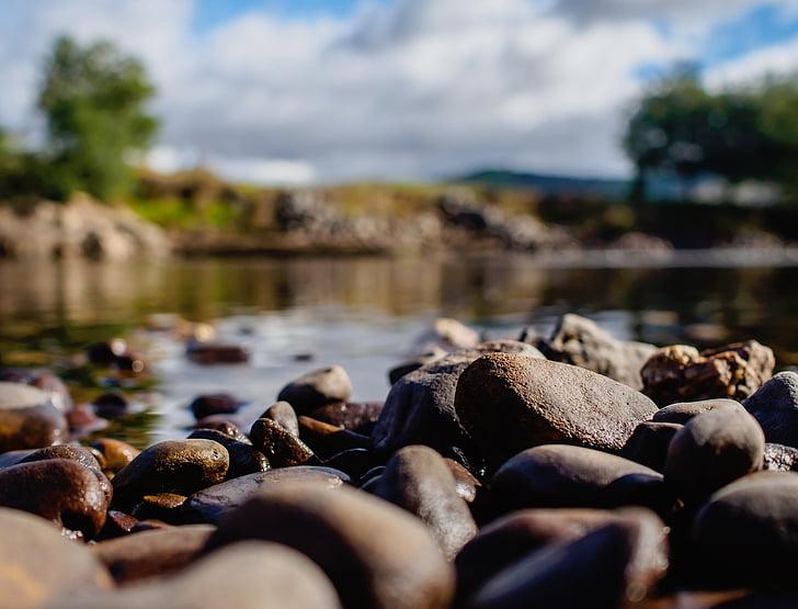 naturen, landskap, vatten, floden, Rocks, resor, träd