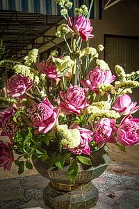 karangan bunga, pot bunga, pot bunga, tanaman pot, bunga, dekorasi, merah muda