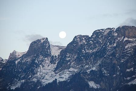 Lluna plena, Lluna, llum de lluna, súper lluna, muntanyes