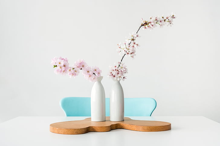 blomst, vase, tabel, stol, indendørs, design, display