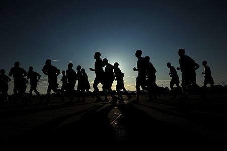 tekačev, silhuete, športniki, fitnes, zdravo, sončni zahod, Mrak