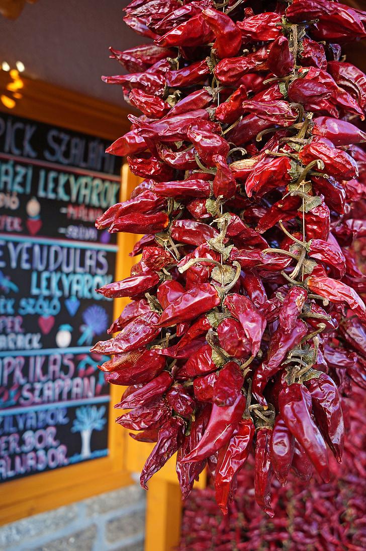 pipari, sarkana, uzsvērti sarkanās paprikas, dārzeņi, pārtika