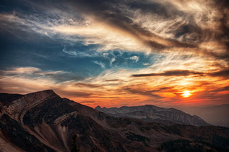 utah, mountain, sky, nature, golden hour, sunset, scenic