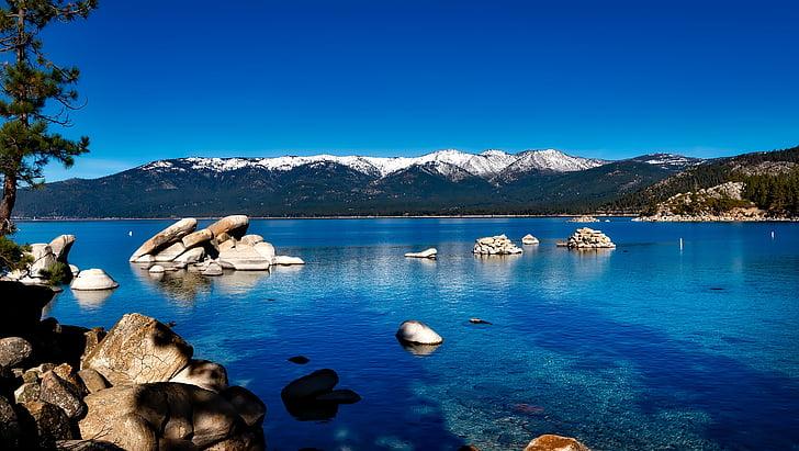 jezero tahoe, Kalifornija, planine, šuma, Sjedinjene Američke Države, odmor, priroda
