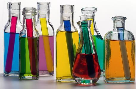Stilleven, flessen, Kleur, gekleurde water, reageerbuisjes, Farbenspiel, vloeistof