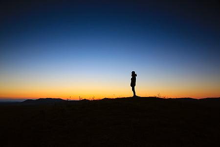 osoba, s, silueta, noční, obloha, Západ slunce, Dawn
