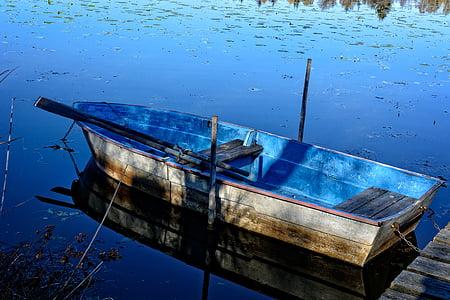 barca de rems, bota, Llac, l'aigua, Moll, vaixell de pesca, natura