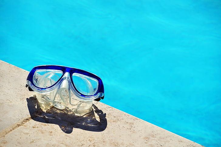 blau, emmarcat, Immersió lleugera, ulleres, Natació, piscina, l'aigua