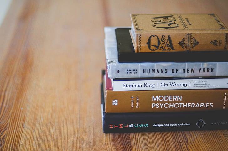 pile, six, assorted, title, books, brown, wooden