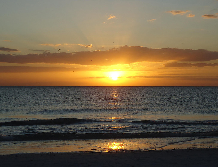 Dawn, soluppgång vid havet, solen, stranden, Sky, uppvaknande, naturen