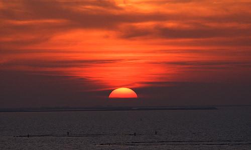 posta de sol, vermell, sol, cel, Afterglow, núvols, cel de nit