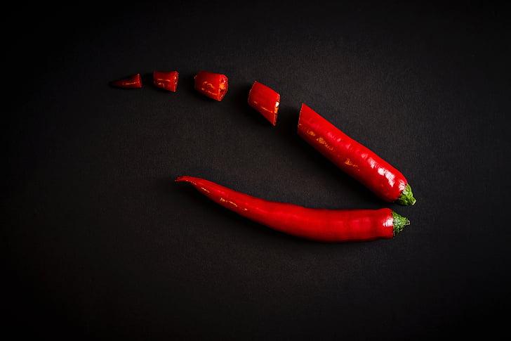 Crveni, čili, paprike, začinski, hrana, sastojak, začin