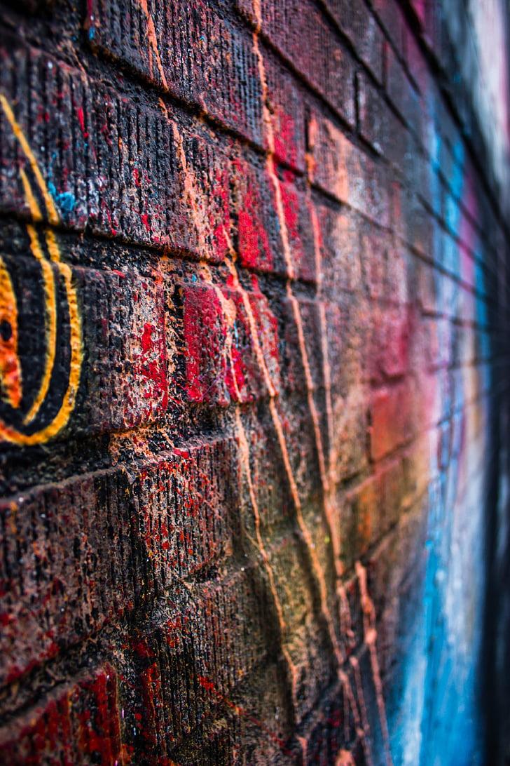 Via, arte, colori, colori, parete, mattoni, gravità