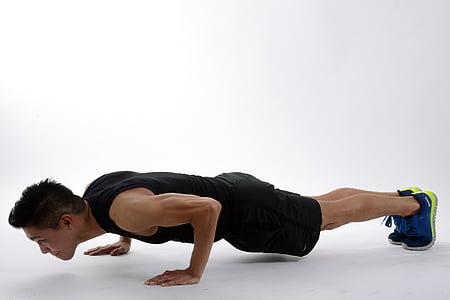 Burpee, empènyer cap amunt, tauló, posició inicial, cos, atleta, esport