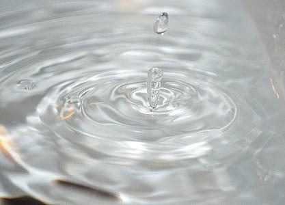 vode, kapljice, ki spadajo, kapljice, valovi, površino, gibljejo