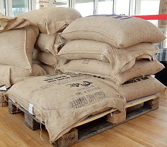 coffee, coffee bag, coffee bags, roasting, bags, stack, pallets