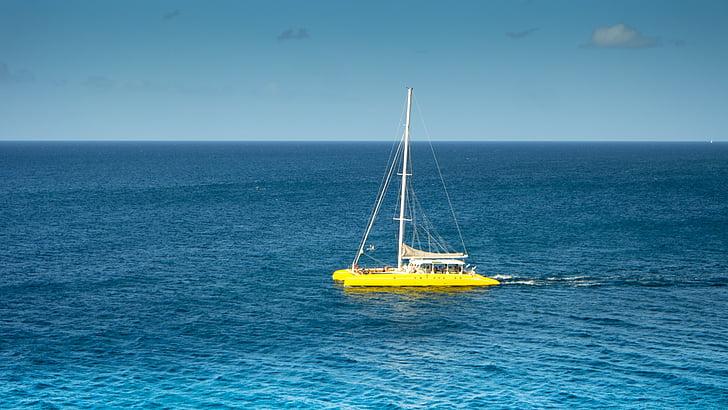 katamaran, havet, segel, Sky, vattensporter, segling, fartyg
