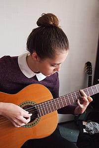 girl, guitar, strings, spanish guitar, music, hands, long hair
