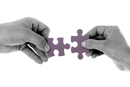 connectar, mà, trencaclosques, Partit, part, Associació, trencaclosques