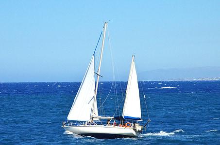 Kreta, båt, segel, havet, vatten, Grekland, Holiday