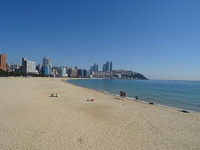 Playa de Haeundae, playa que se baña, Busan, mar, tomar fotos, paisaje, arena