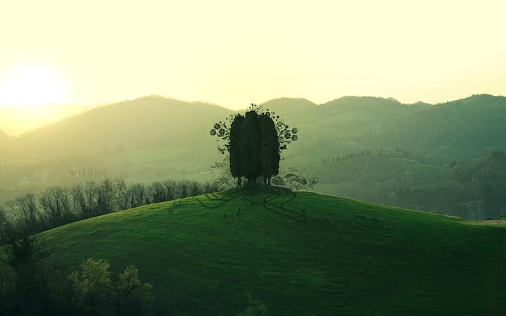 turó, muntanya, sol, Mar, cel, memòria, vida