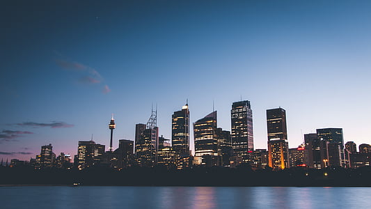 buildings, city, city lights, cityscape, lights, river, sky