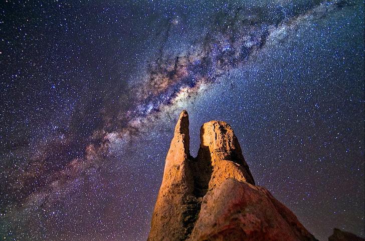 milky way, rocks, night, landscape, pinnacles, australia, sky