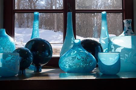 Brille, Blau, Dekoration, Reflexion, Fenster, Glas, Vasen