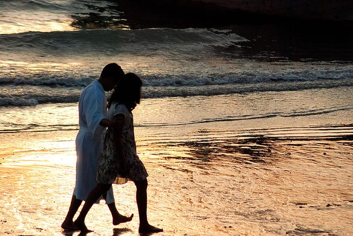 krabi, beach, sunset, couple, romantic, holiday, seaside