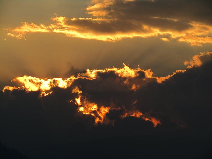 taustavalgustusega, pilved, tume, Dawn, Dusk, õhtul, valgus