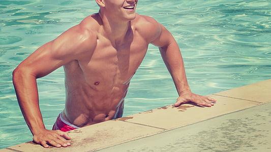 szabadidő, ember, izmok, medence, úszás, úszómedence, víz