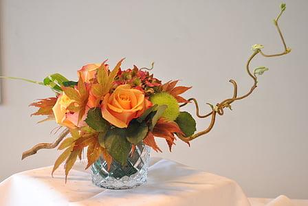 kytice, květiny, dekorace, váza, květ, růže - květ, tabulka
