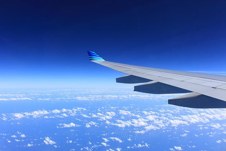 крило, літак, політ, літак, небо, літаки, хмари