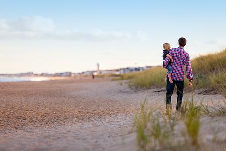 ходьба, пляж, Семья, Вместе, отец и сын, родители и дети, на открытом воздухе