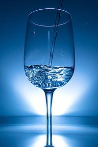Copa de vi, l'aigua, líquid, clar, fotografia de la Highspeed, ulleres, injectar