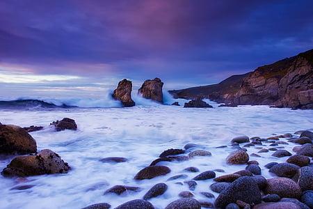 California, Sunset, Dusk, taevas, pilved, Kaunis, kivid