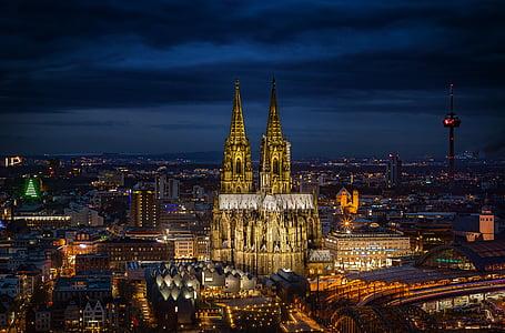 Dom, Nhà thờ Cologne cathedral, Cologne, Landmark, Nhà thờ, sông Rhine, Đức