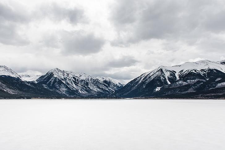 nublado, frio, paisagem, Cordilheira, montanhas, natureza, neve