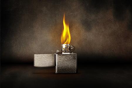 lighter, flame, burn, kindle, light, warm, zippo
