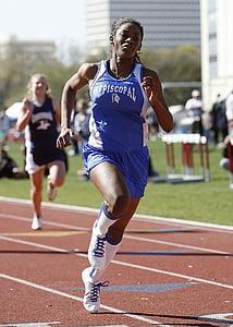 corredor, velocista, femella, noia, atleta, resultat fent un esprint, esport