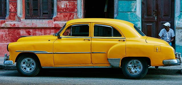 yellow, car, vehicle, travel, trip, road, people