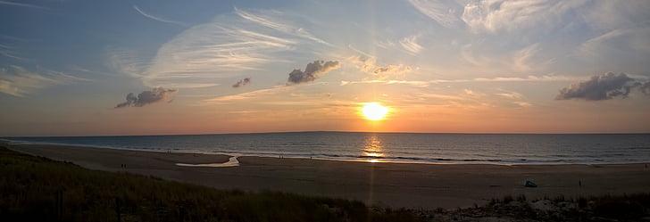panoràmica, platja, Atlàntic, posta de sol