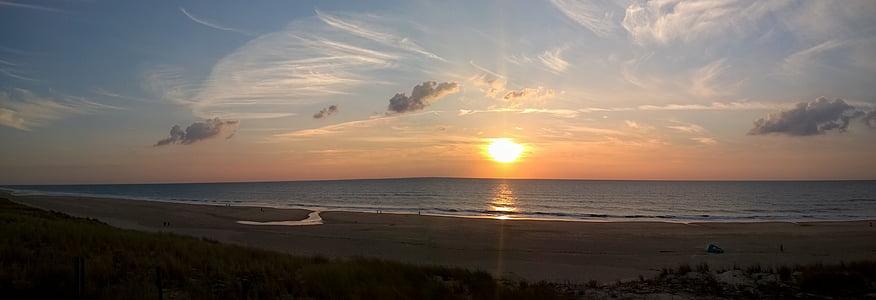 panorama, Playa, Atlántico, puesta de sol